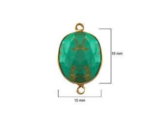 BLUE TURQUOISE OVAL 15X18 mm gold double s