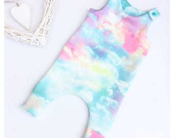 Baby romper - baby harem romper - baby dungarees - cloud fabric - baby clothes - toddler romper - 3-6months to 6 years