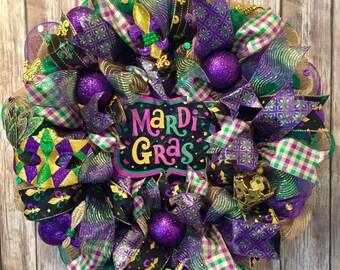 Mardi Gras wreath, Mardi Gras wreaths, Mardi Gras, Mardi Gras mask, Mardi Gras decor, Mardi Gras front door wreath, Mardi Gras sign, mask