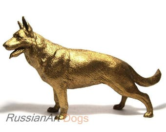 German Shepherd statue, dog realistic bronze statuette