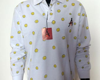 Apostel13 Men Classic Fit Poloshirt long sleeve Yellow Smiley Motive White Size: M-XXL