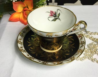 Royal Stafford Fine Bone China Teacup and Saucer Black Gold