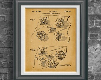 Dungeon and Dragons Dice Patent Art DnD Wall Art RPG Artwork Role Playing Game Poster RPG Player Gift for Dungeon Master Wall Artwork PP4051
