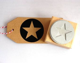 Stamp star in a circle, rubber stamp, 40x40 mm