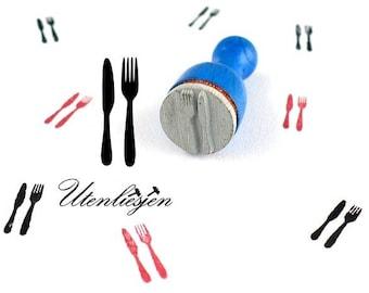 Stamp mini, knife, fork, cutlery, rubber stamp Ø 12 mm
