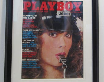Vintage Playboy Magazine Cover Matted Framed : May 1982 - Vickie Reigle