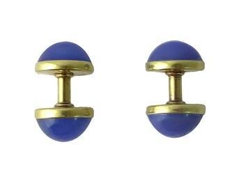 Victorian S-N 14K Gold Blue Chalcedony Cufflinks