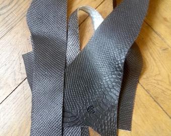 BLACK MATT snake leather scraps