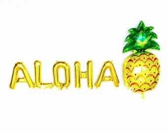 Aloha Gold Letter Balloons ~ Pineapple Balloon ~Aloha Banner ~ Hawaiian Party ~ Luau Party~ Aloha Party ~ Palm Springs~16 inch Air Fill Only