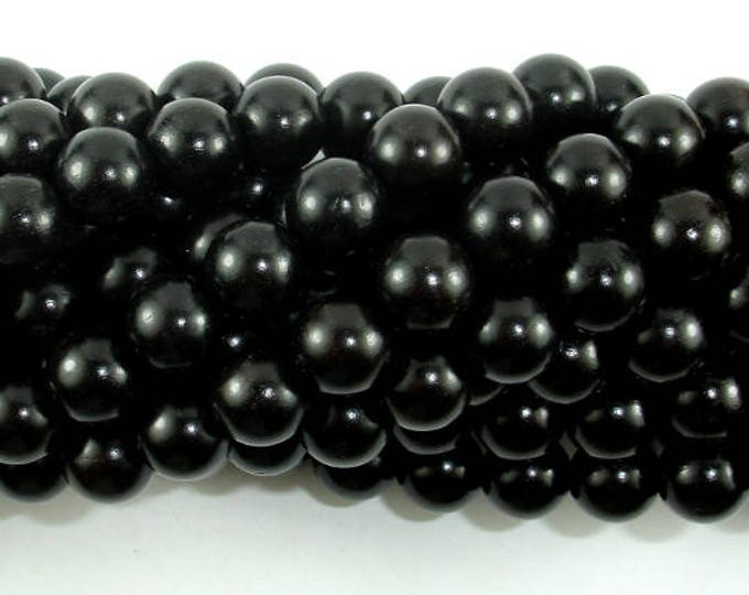 Black Sandalwood Beads, 8mm(8.5mm) Round Beads, 35 Inch, Full strand, Approx 108 Beads, Mala Beads (011732002)