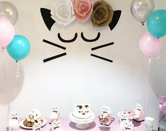 Cat Decoration Birthday Party- Meow Party- Kitty Party- Girl Birthday Party
