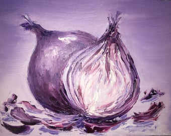 Original Onion Knife Oil Painting on Canvas -- Hand Painted -- Ready to Hang