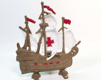 Vintage Cast Iron Galleon Spanish Ship Brown Boat White Sales Red Cross