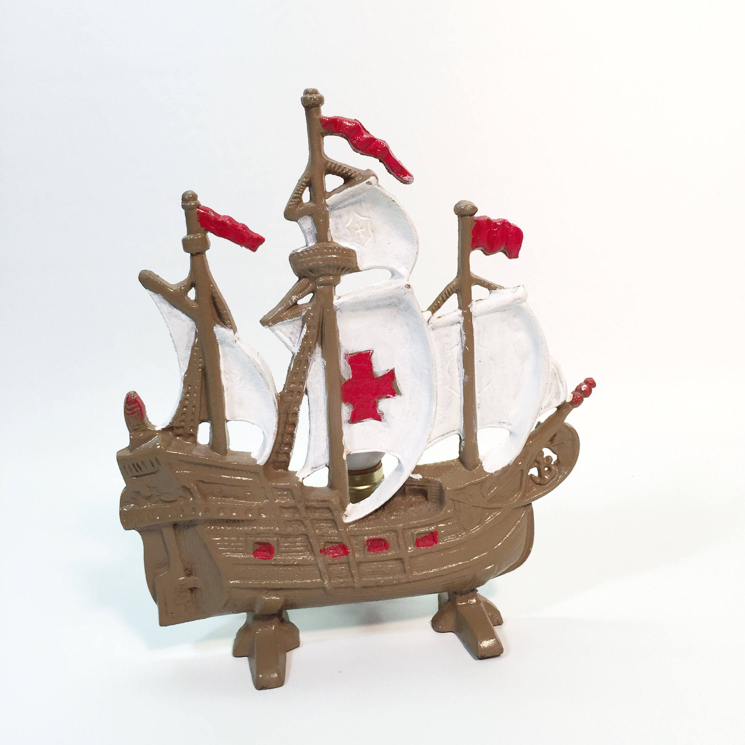 vintage cast iron galleon spanish ship brown boat white sales red