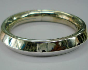 traditional design sterling silver bangle bracelet cuff triangular kada handmade