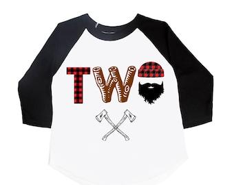 Lumberjack Birthday Shirt - Two Birthday Shirt - Buffalo Plaid Shirt - TWO Year Old - Toddler Birthday - Lumberjack Birthday - 2nd Birthday