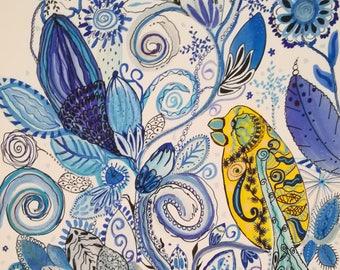 Watercolor flower bird of paradise