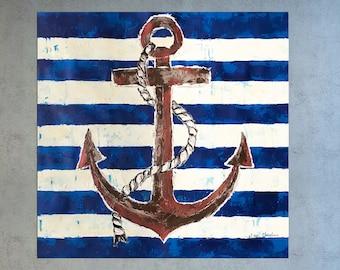 Nautical Painting, Anchor Painting, Seascape art, Palette Knife art, Coastal decor, Home decor, Sailing art, Anchor, Painting on canvas