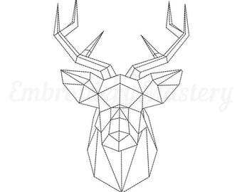 DEER embroidery machine designs. Hunting. Horned. stag pattern. Forest deer embroidery. 3 sizes