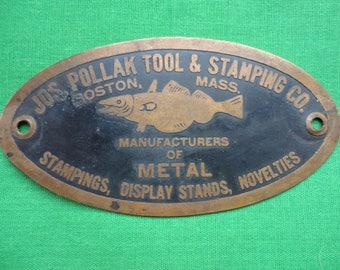 Copper Advertising Plaque Boston