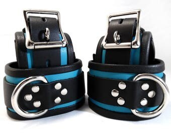 Bondage Cuffs with BDSM Collar BDSM Gear in Turquoise Signature