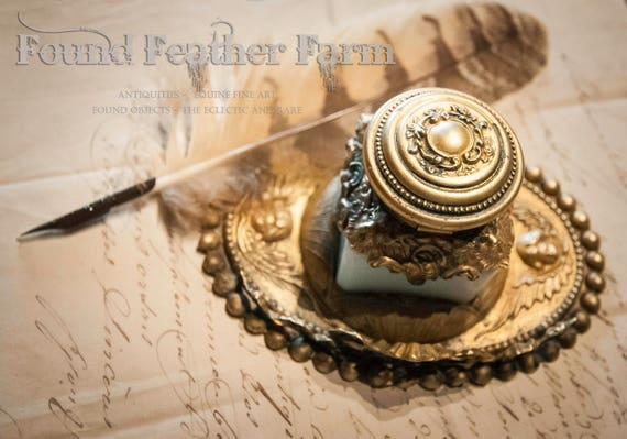 Ornate Antique Victorian Repousse Brass Inkwell with Original Milk Glass Ink Well
