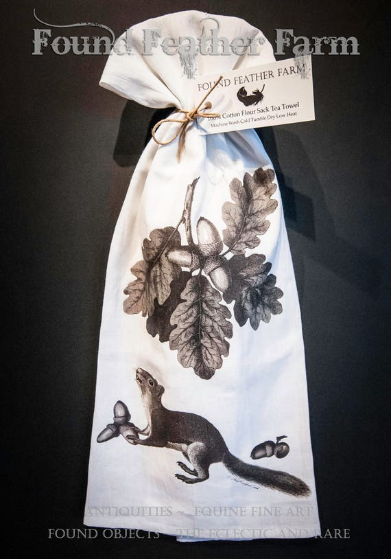 """Printed Cotton Flour Sack Tea Towel with Original  """"Do You Like Nuts?"""" Design"""