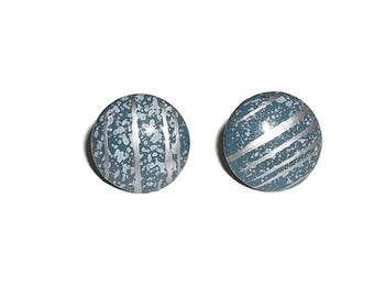 "Vintage Country Blue w/ Silver Splatter Design 3/4"" Button Earrings"