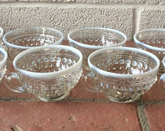 Set of 8 Anchor Hocking Moonstone Opalescent Hobnail Footed Cups