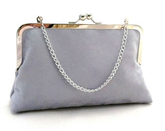 Silver Suede Brides Maid Purse Clutch ~ Light Grey Suede Purse ~ Ready to Ship