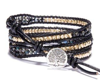 Leather wrap bracelet 2mm Agate bead bracelet women boho bead wrap bracelet leather bracelet gemstone bracelet natural stone Jewelry