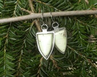ON SALE Lemon Chrysoprase Earrings in Silver