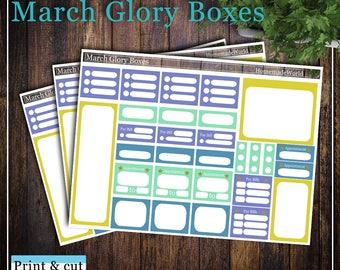 March Glory Boxes, Print & cut, SVG, FCM, ScanNCut, Silhouette, Cricut, Classic Happy planner
