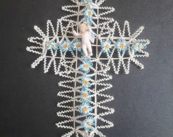 antique french glass beads funerary wreath with porcelain angel