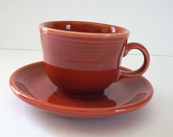 Paprika Fiesta Ware Cup and Saucer, Homer Laughlin Co. Fiestaware