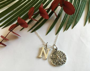 """Sand Dollar Personalized  Silver  Necklace """" Beach Jewelry  """"Vacation Memory Jewelry""""Anniversary Gift """" Afforable and Gift Wrapped"""