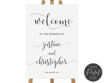 Wedding Welcome Sign, Modern Wedding Sign, Black and White, Free Colour Changes, DIY Printable Digital File, Delightful Suite, Peach Perfect