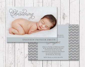 Blue Christening or Baptism Photo Invitation, Boy Invites, Professionally Printed, Double Sided, Free Colour Changes, Peach Perfect