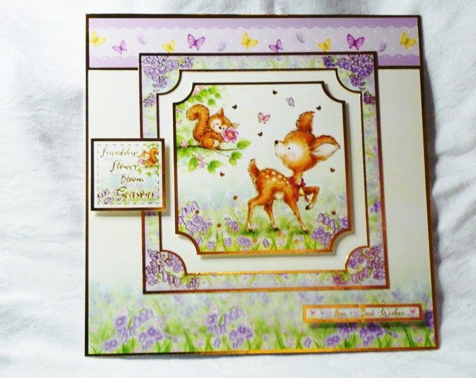 A Deer and Squirrel, Birthday Card, Greeting Card, Female, Any Age, Mum. Sister, Daughter, Niece, Aunt, Friend, Large Card,