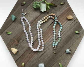 Amazonite & Quartz Featuring: Gold Moon Hand Knotted 108 Beaded Mala Necklace