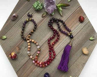 Long Tassel Gemstone 108 Mala - featuring - Garnet, Amethyst, Agate, Jasper - Accented with - gold hematite and tigers eye- Tassel Necklace