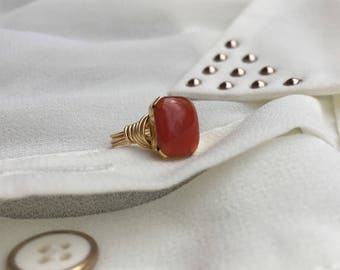 Deep Rust Color Ring | Carnelian Stone Ring with Gold Plated Wire | Unique Ring | Deep Orange and Gold Ring | Carnelian Jewelry Gift