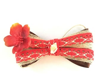 Moana hair bow, Disney accessory, clip, burlap, red, flower, seashell, baby, girls, women, gift, birthday