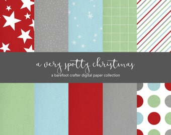digital papers - christmas themed - perfect for december daily scrapbook albums, project life, travelers notebook
