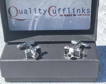 Camera Cufflinks, Silver camera cufflinks, silver cufflinks, enamel cufflinks, photography cufflinks, photographer cufflinks