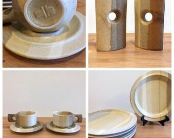 RESERVED: Vintage Fabrik Stoneware Pottery Dinnerware Lot   Plates Mugs Bowls Platters Salt and Pepper Etc.