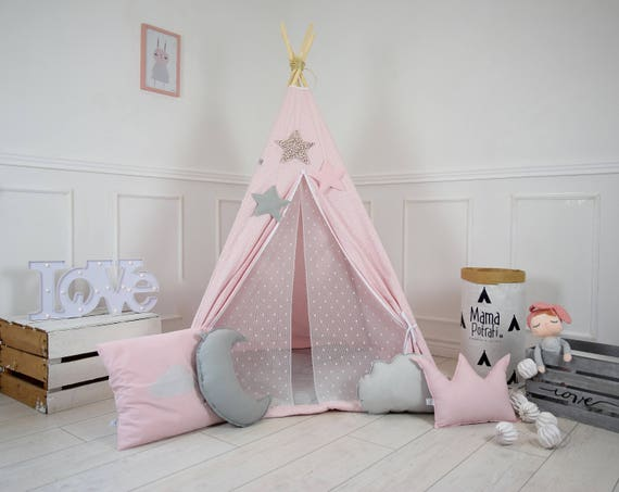 tente tipi tipi rose poudre rose tente enfants jouent. Black Bedroom Furniture Sets. Home Design Ideas