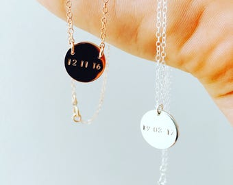 Date Necklace | Custom Date Necklace | Initial Necklace | Silver Date Necklace |Birthdate Necklace | Engraved Necklace | DOB Necklace