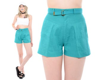 Vintage 80s 90s Turquoise HIGH WAIST Preppy Belted Pleated Front Mom Shorts Normcore XS *Free Shipping U.S.* vtg