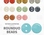 Vector Clipart Set of Two-hole RounDuo Beads - Instand Download